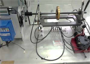 Test bench: a) experimental system and b) its schematic model