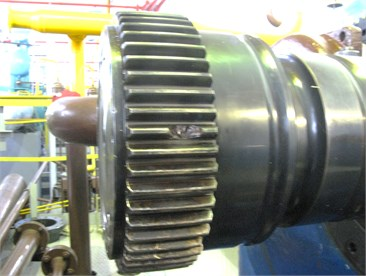 Failure and simple gas compressor units due to defects: a) EGCU-12500 (EGCU-235-23-3) with a centrifugal compressor C-235-21-1 without hydrodynamic coupling due to damage to the gear sleeve of shaft-gear multiplier (chipped tooth and damage to a number of other teeth); b) EGCU2-12.5/76-1.5 with a centrifugal compressor C-285-22-1 due to damage to the gear coupling (welding teeth of half-clutch gear /side of the drive/ and gear hub motor)