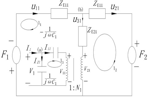 The equivalent circuit figuration of the front piezoelectric ceramic
