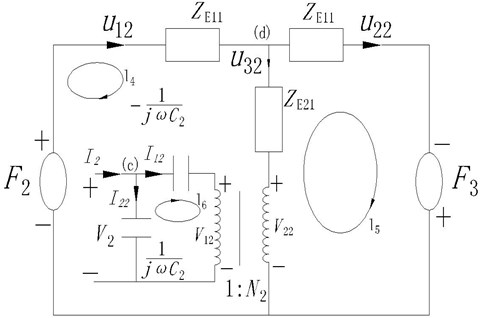 The equivalent circuit figuration of the back piezoelectric ceramic