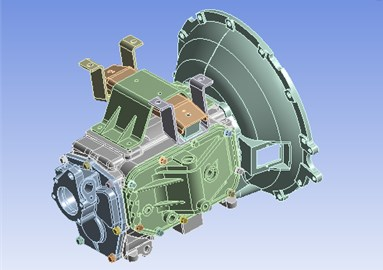 3D assembly model of the transmission housing assembly