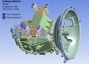 The constrained model of the transmission housing assembly