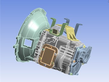 3D assembly model of the modified transmission housing assembly