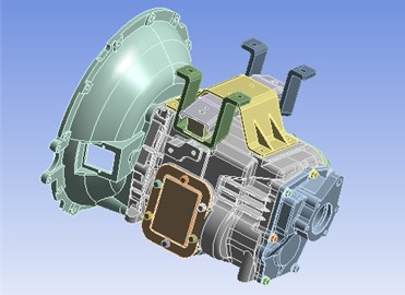 3D assembly model of the further modified transmission housing assembly