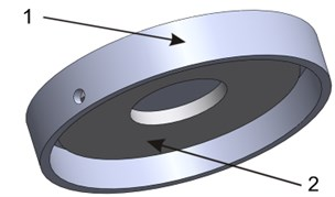 The 3D view of the pad (1) with the piezoelectric element (2)