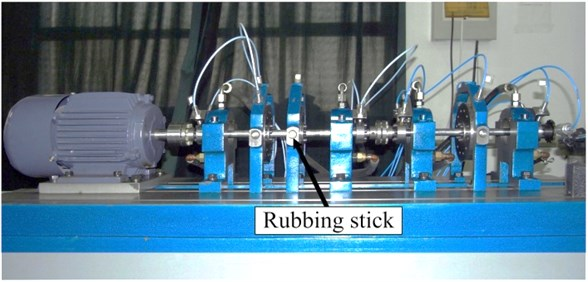 A photograph of the experimental rotor-bearing rig