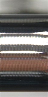 Machined surfaces in SSV cutting process:  a) SSV parameter P1 (T=0.5s, A=40rpm/s); b) SSV parameter P2 (T=0.5s, A=260rpm/s);  c) SSV parameter P3 (T=2.0s, A=200rpm/s); d) SSV parameter P4 (T=0.4s, A=200rpm/s)
