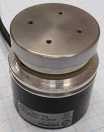 Second modification of piezoelectric high resolution rotary table: a) photoelectric angular position encoder A58-F-10240-5V, b) without rotating part, c) angular position registration device CS3000; resonant frequency – 42.1kHz, harmonic excitation amplitude – 10V