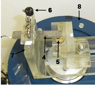 PRISM system: 1 – control block, 2 – illumination head of the object, 3 – video head, 4 – designed piezoelectric harvester, 5 – stopper, 6 – accelerometer, 7 – clamp, 8 – electromagnetic shaker