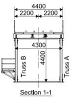 Design a) and cross-section b) of the bridge