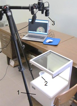 View of the experimental setup used for photoelastic stress analysis of LDPE polymeric films:  1 – General Purpose Strain Viewer, 2 – tested material, 3 – USB digital camera EO-1312c