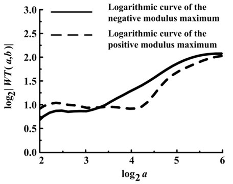 Logarithmic curves of the modulus maximum under suction valve spring fractured condition