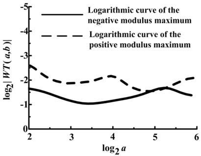 Logarithmic curves of the modulus maximum under drainage valve spring fractured condition