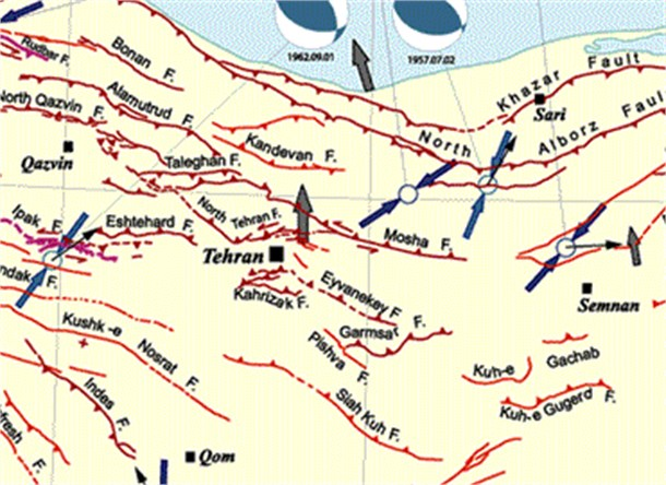 Tehran and its vicinity faults map