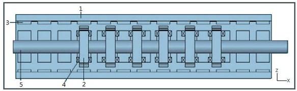 Schematic of the PMTFLSM: 1 – Stator back iron, 2 – Cross-shaped core, 3 – Permanent magnet,  4 – Winding, 5 – Translator shaft