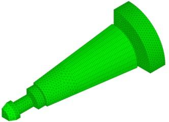 Mesh of the toolholder finite element model