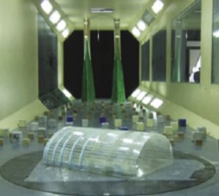 Rigid model of the shell in wind tunnel