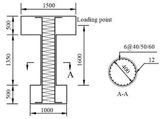 Specimen geometry and reinforcement