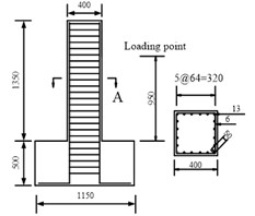 Hysteresis behavior of RC columns under bending load under bending-shear effect: a) Specimen geometry and reinforcement, b) The test and numerical simulation results,  c) Cumulative energy dissipation
