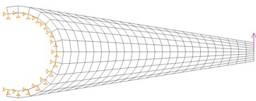 Proposed design of the torque arm and its behavior at the first natural frequency f01=30.6Hz