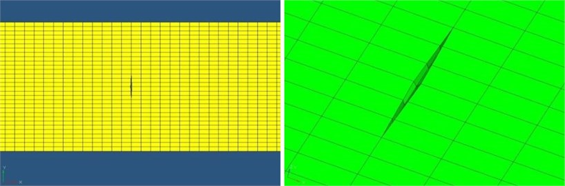 The finite element mesh situation of the CFRP tensile specimen:  a) The overall view of finite element mesh, b) Crack processing