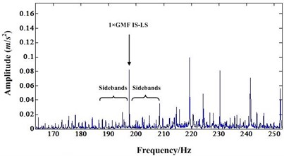 a) Detail spectrum of first order IS-LS GMF before NIC processing,  b) Detail spectrum of first order IS-LS GMF after NIC processing