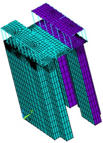 The three-dimensional finite element model of the ship lift structure