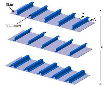 Modeling approach of different stiffened panels: a) various stiffened panels;  b) profile of I-Shape stiffener; c) equivalent stiffness matrix; d) shell elements