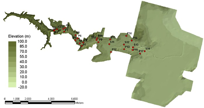 Topography and locations of field surveyed points (P1-P17) and gauges at  physical model (S6-S14)