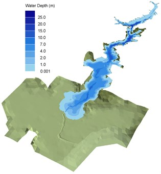 3D inundation water depth and extent at a) 0, b) 3, c) 12, d) 21, e) 30 and f) 35 min