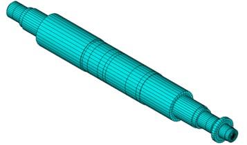 Element model of compressor medium pressure cylinder rotor system
