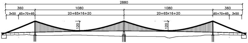 General layout of Ma'anshan Yangtze River bridge (unit: m)