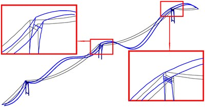 The first bending mode and torsion mode of global in-plane vibration of cable-tower system