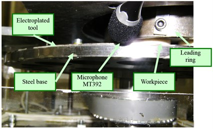 Experimental set-up of a grinding machine with an electroplated tool and a microphone