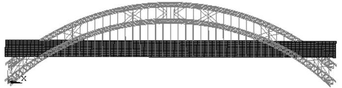 Structural model of the Yajisha CFST arch bridge