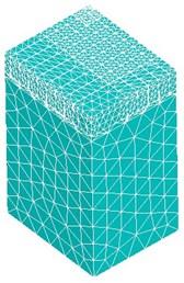 FEM mesh model and stress diagram