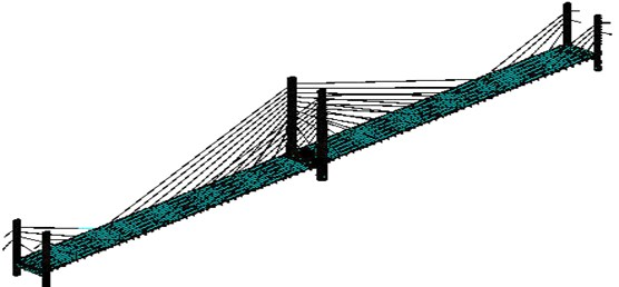 Cable-stayed bridge analysis model of three-dimensional finite element