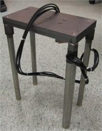 a) Setting up centrifuge-shaker platform, b) pile-raft model, c) steel plates for added masses