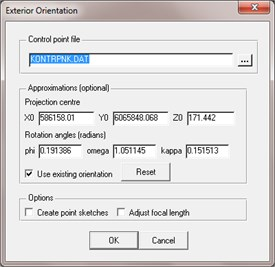 UAV images exterior orientation parameters