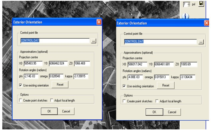 Images exterior orientation parameters in LISA software application