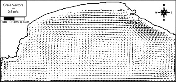 Computed wave-induced current vector field around Haeundae at 15:00 of 4 June 2008  (arrow direction: current direction; arrow length: current speed)