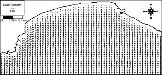 Computed wave vector field around Haeundae for artificial case with S waves