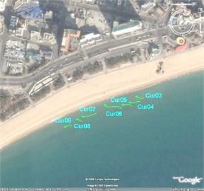 Measured drogue tracks at Haeundae Beach at 15:00 of 4 June 2008