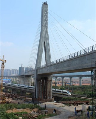 Built single tower cable-stayed bridge