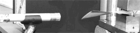 The microphone-blade system: a) top view; b) lateral view