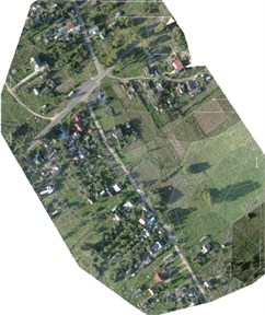 Elevation view and ortho-mosaic of village Kazbiejai project