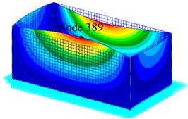 Finite element model and mode 1st of the tank