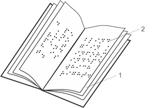 Schematic representation of samples: a) a book consisting of sheets of polymeric film (1) with Braille writing (2); b) samples rotated by various angles α