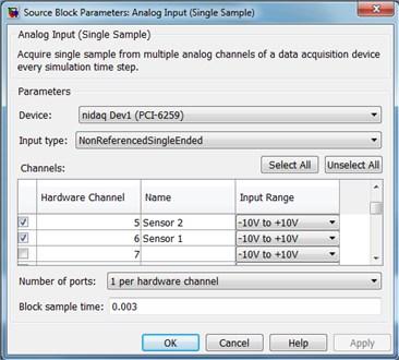 The settings of analog input