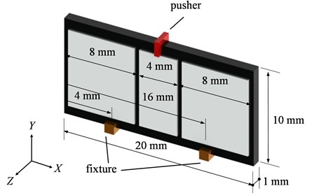The detail dimensions of the piezoelectric actuator with asymmetric electrode